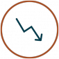 Reduce Operational Costs Icon - Arrow going down in circle