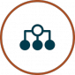 High Availability Icon - graph showing disperse of three sections in circle