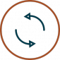 Long Term Maintainability Icon - Arrows going around circle in circle