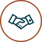 Reduce Engineering Costs Icon - shaking hands in circle